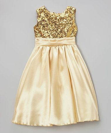 Kid Fashion Gold Sequin Satin Dress