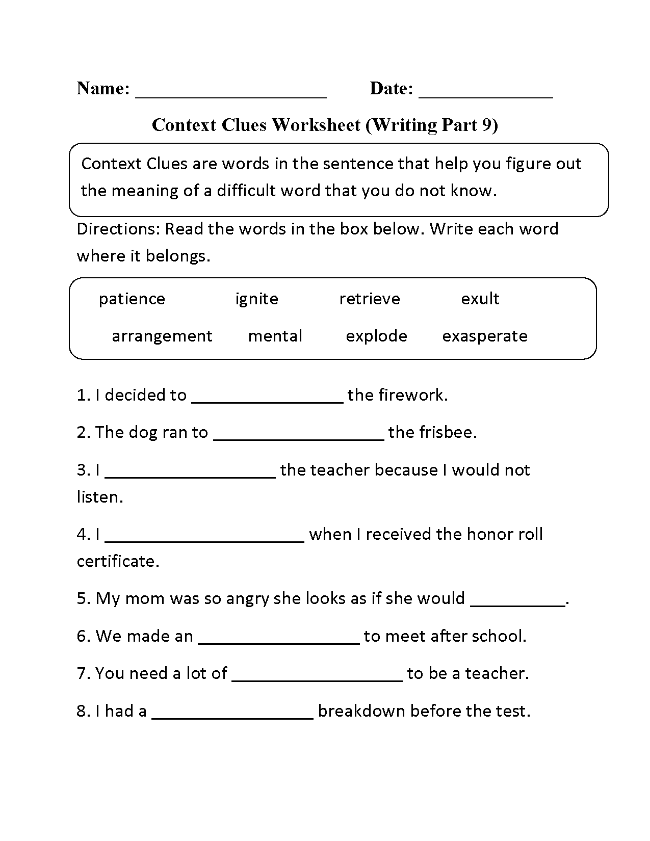 Context Clues Worksheet Middle School