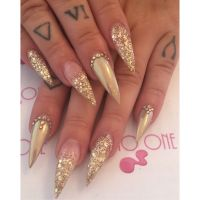 Gold gems chrome chunky glitter stiletto nails tattoo glam ...