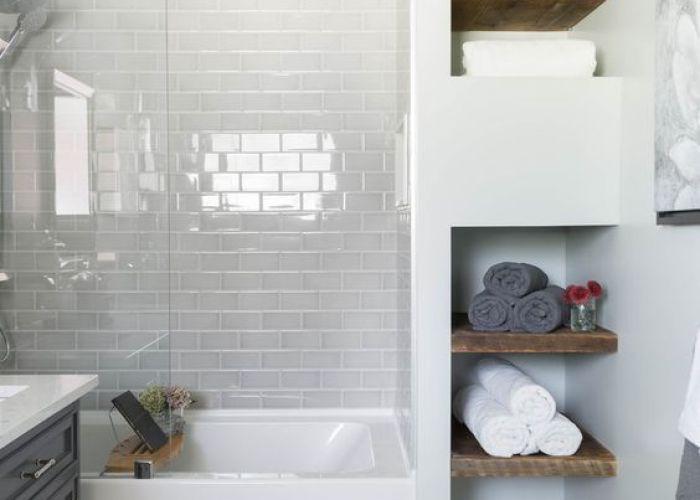 Bathroom white subway tile mosaic floor glass shower tub wood shelving carriage lane design build inc also