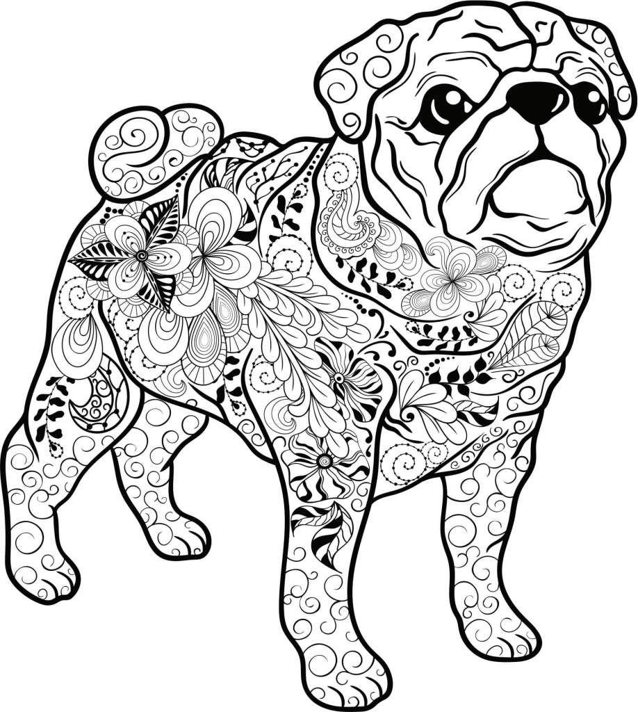 Kostenloses Ausmalbild Hund - Mops Die gratis Mandala