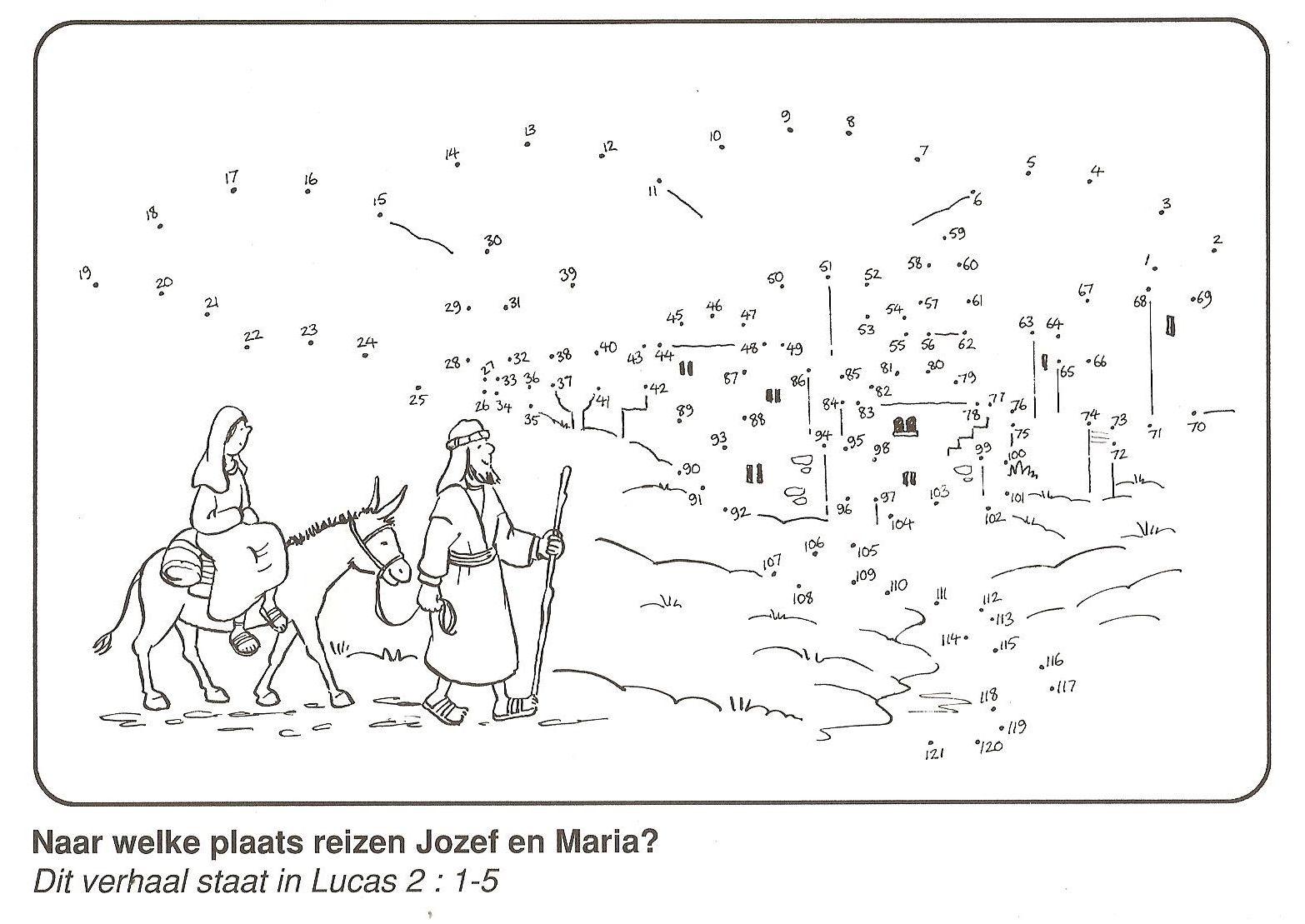 Jozef En Maria Reizen Van Nazareth Naar Bethlehem Van Stip