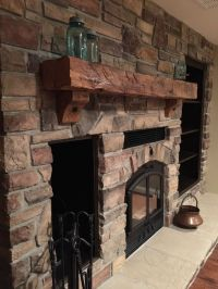 Stone Wood Burning Fireplace with built-in wood box and ...