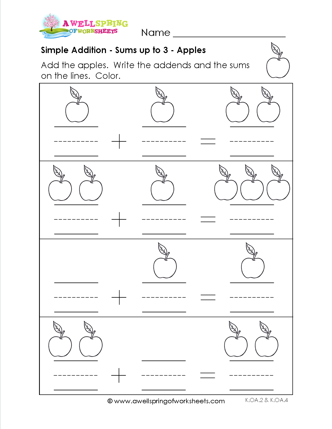 Simple Addition Count The Objects In These Simple Addition Worksheets And Write The Numerals On