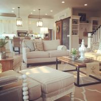 Farmhouse living room, open concept to kitchen. Interior