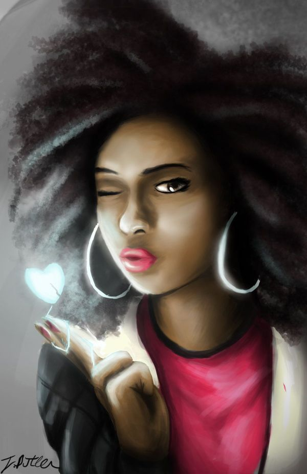 Natural Hair Style Black Women Art