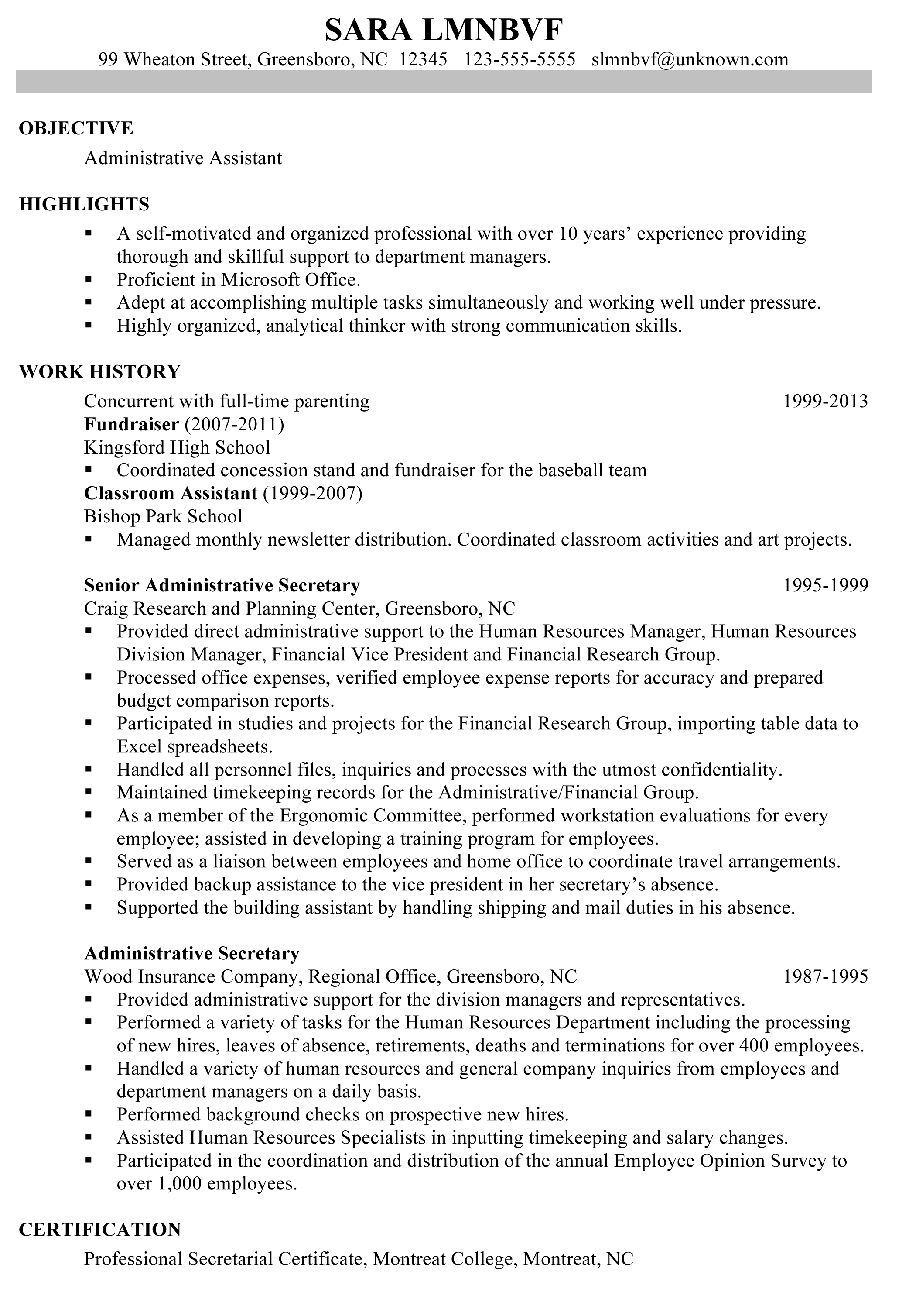 Professional Resumes Template Great Administrative Assistant Resumes Using