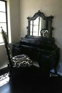 {Villa} Black gothic vanity with damask chair | Home Dcor ...