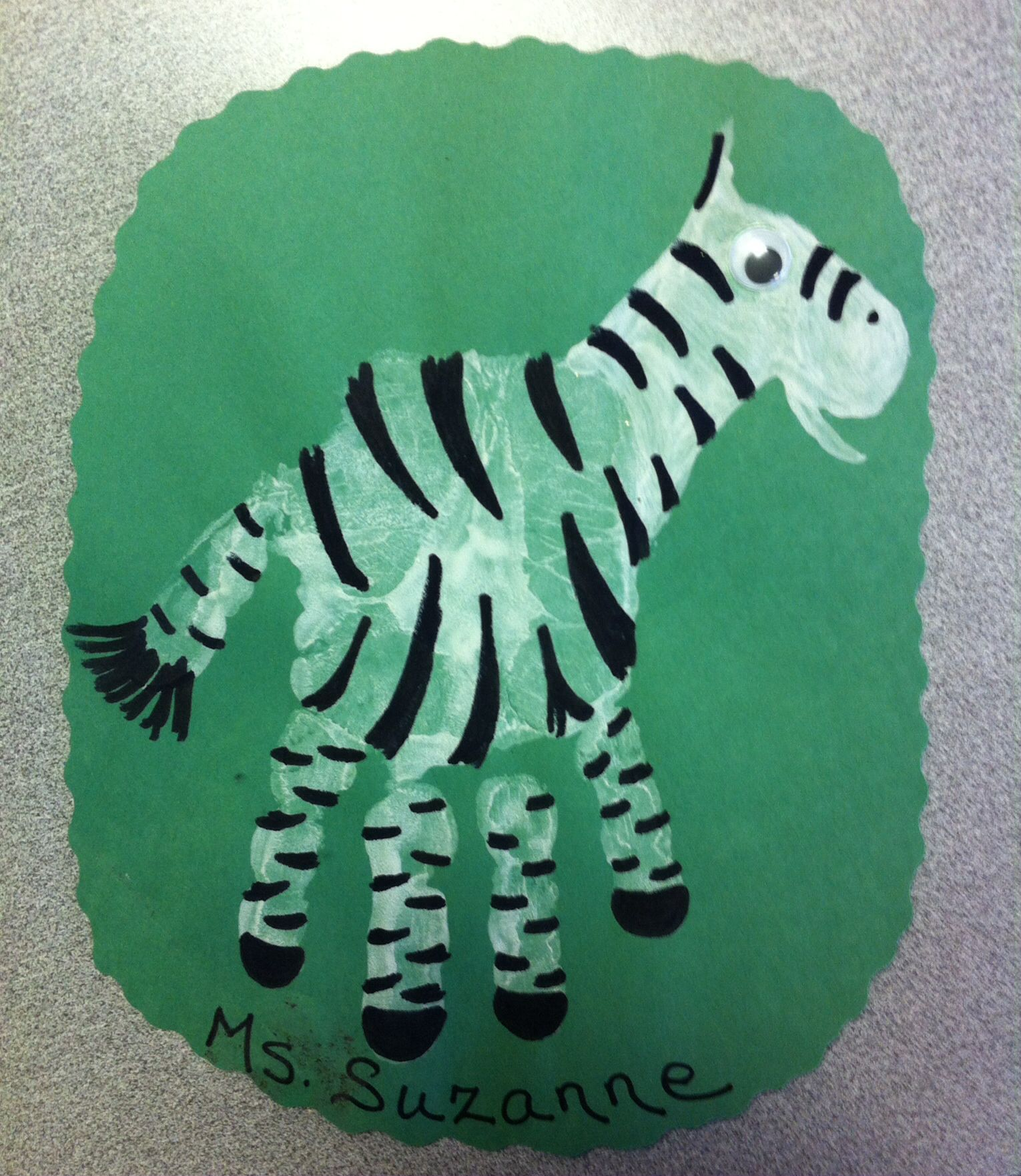Zebra Handprint Craft For Preschoolers