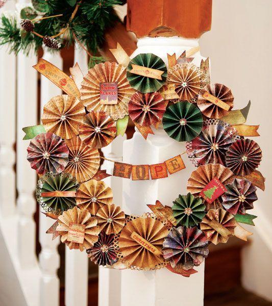 christmas door wreath from reused paper cocktail umbrellas