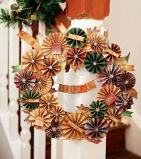 christmas door wreath from reused paper cocktail umbrellas