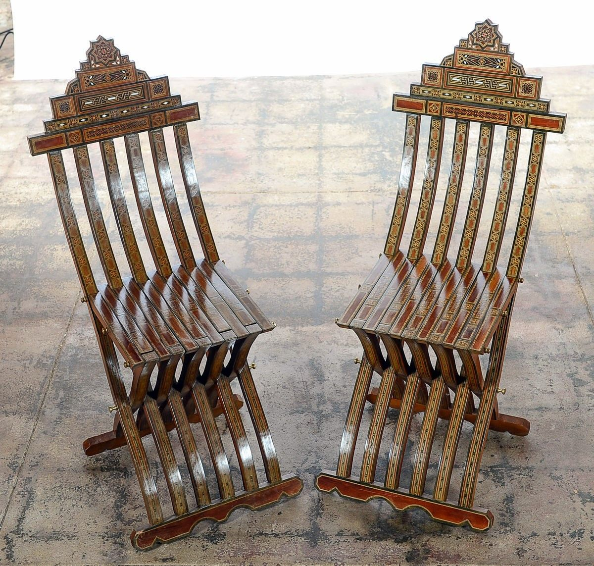 Pair of Vintage Moroccan Folding Chairs  ID 2083