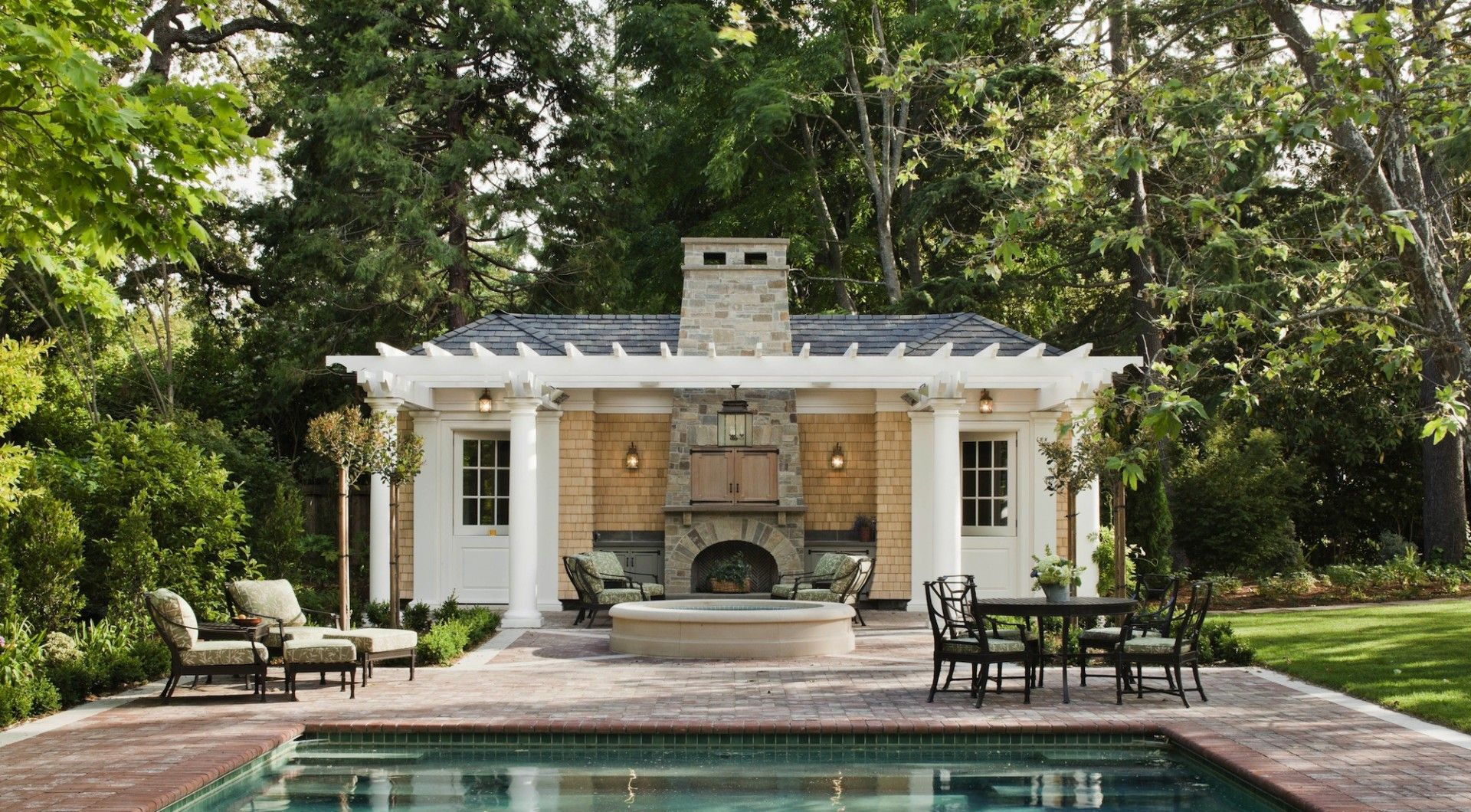 Stunning Traditional Outdoor Fireplace Pool House Designs Ideas