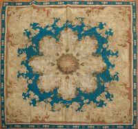 Antique French flat-weave Aubusson Empire Carpet, 5' x 5 ...