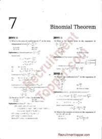 NDA Maths Previous Years Questions with Solutions Binomial