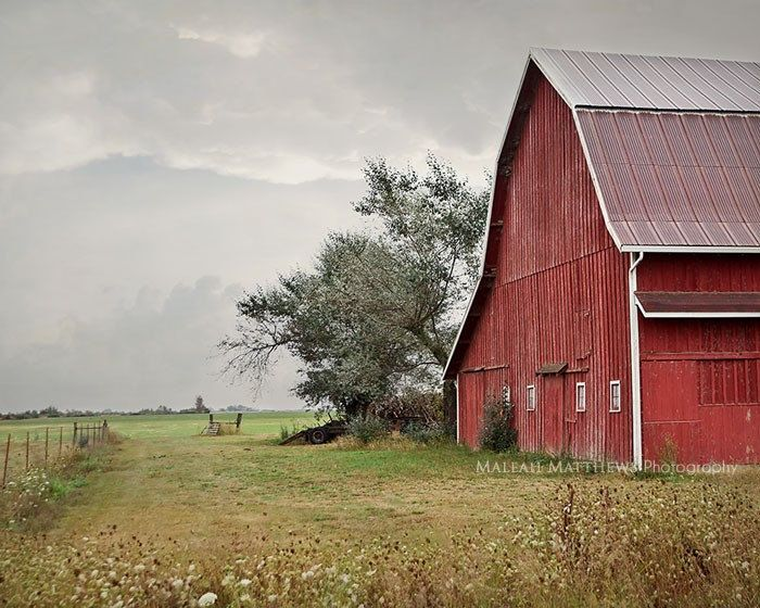 Old Red Barn Photography Landscape Photo Oregon Farm Country