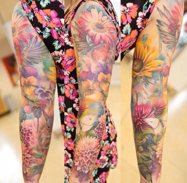 Ganzer Arm Mit Blumen Tätowiert  Tatoo Pinterest