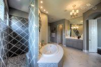 Spa master bath with walk through shower, garden tub and ...