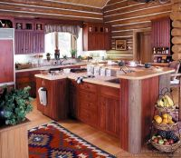 #Kitchen of the Day: Log Home Kitchen with Red Cabinets ...
