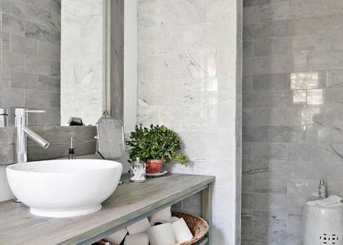 Bathroom decor ideas and design tips grey tilesmarble also drums glass open shelving