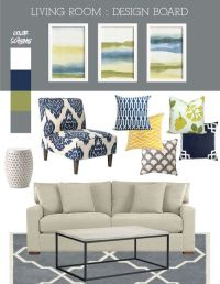 blue, green & gray living room | Living Rooms & Great ...