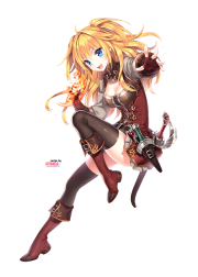 anime girl with blonde hair sword
