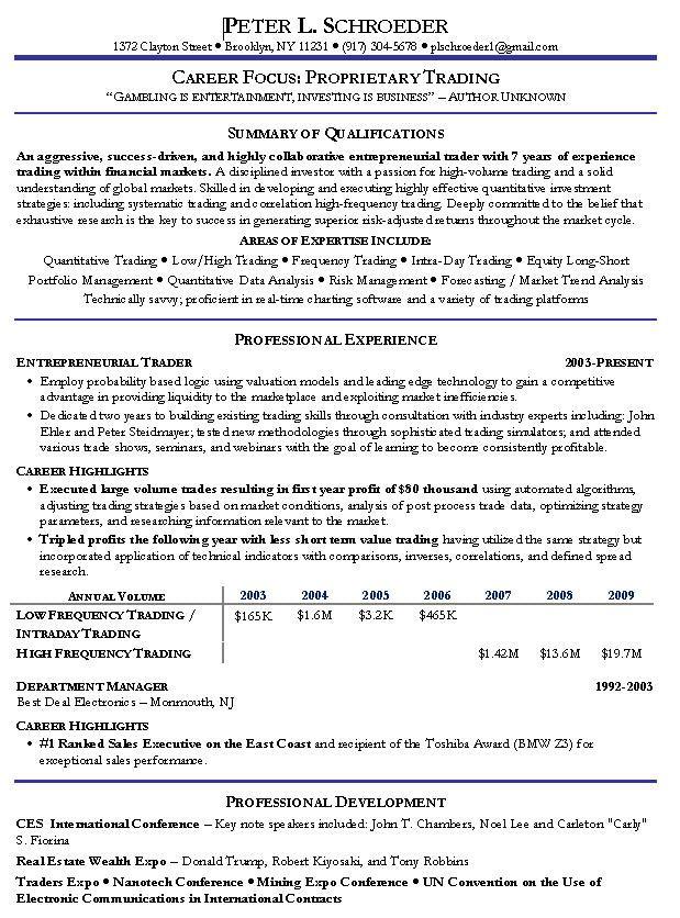 Proprietary Trading Resume Example  httptopresumeinfoproprietarytradingresumeexample