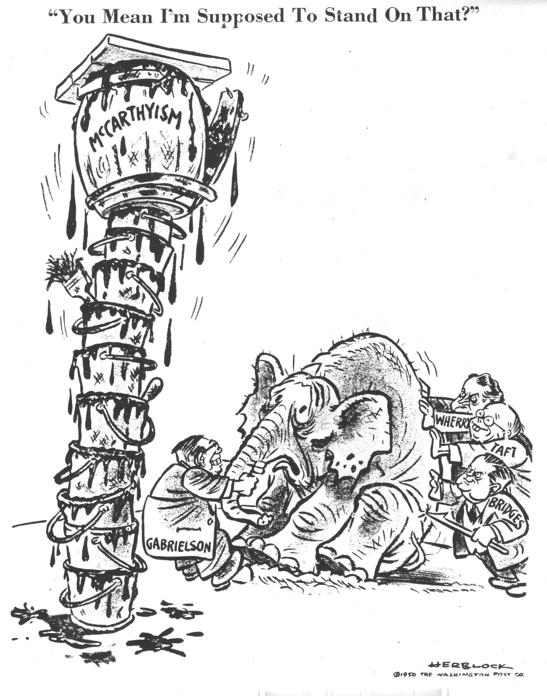 Cartoon of Democrats pulling an elephant to stand on top