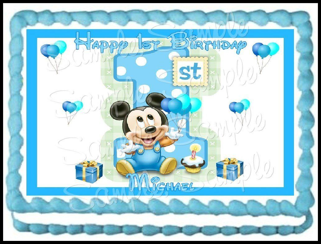 Amazon Baby Mickey 1st Birthday Edible Frosting Sheet