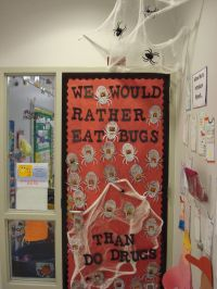Decor Red Ribbon Week Door Decorating Ideas With Finish