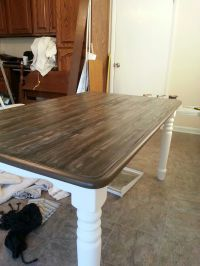 refurbished table with faux finish of barnwood. using van ...