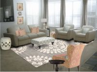 Living Room. cream fabric sofa with cushions also gray ...