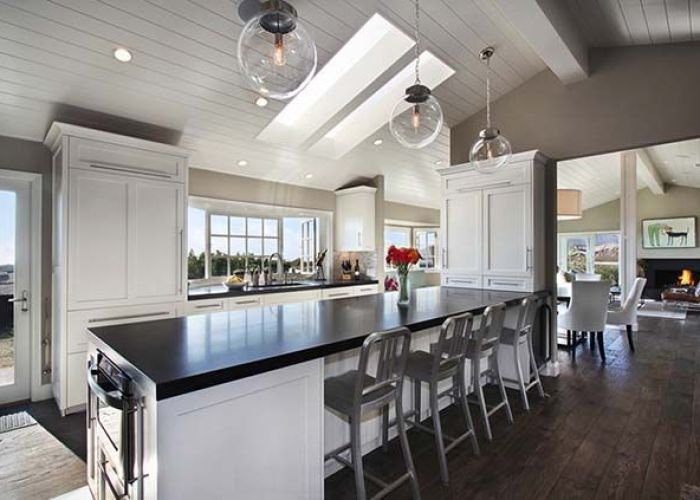 Hykes residence is the remodel of    tract house turned modern and transitional beach cottage also in dana point california