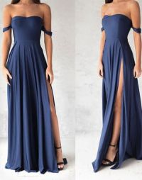 Simple blue prom dress, elegant blue evening dress for ...
