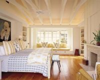 Cottage Master Bedroom with Ceiling fan, Exposed beam ...