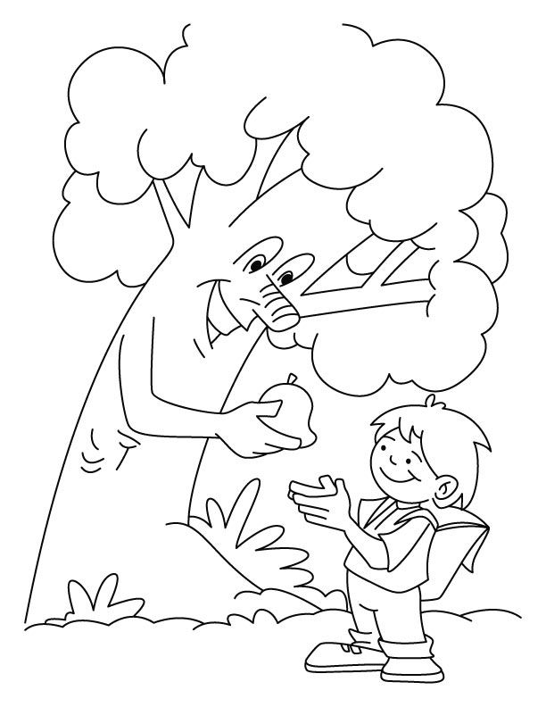 Tree giving the fruit to a boy coloring pages in Giving