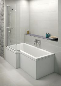 Moods L Shaped Shower Bath Screen with Integrated Mixer ...