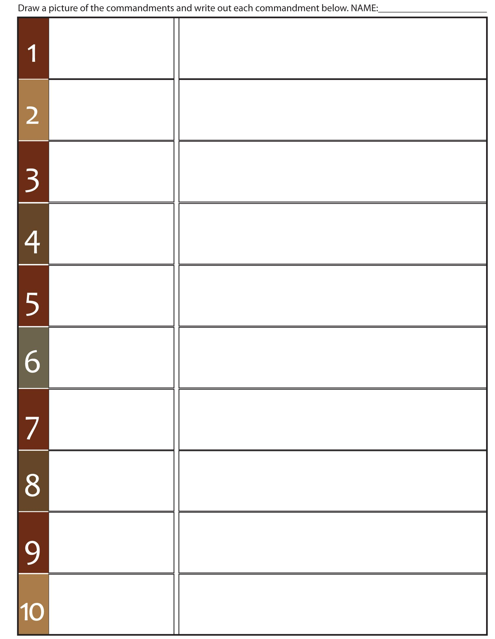 Worksheet To Teach The 10 Commandments Fill In The Blank