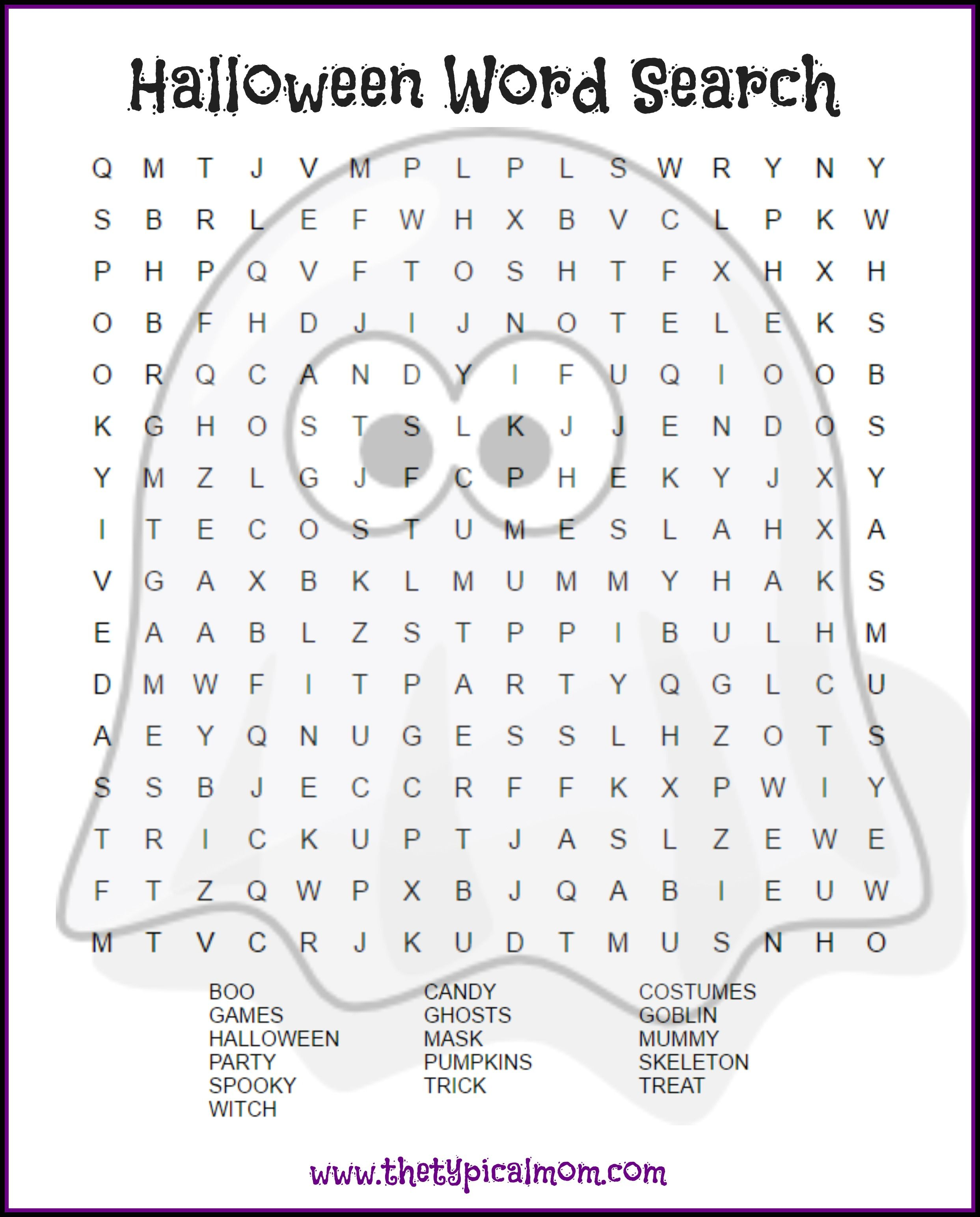 Here Are Several Free Halloween Word Search Printables