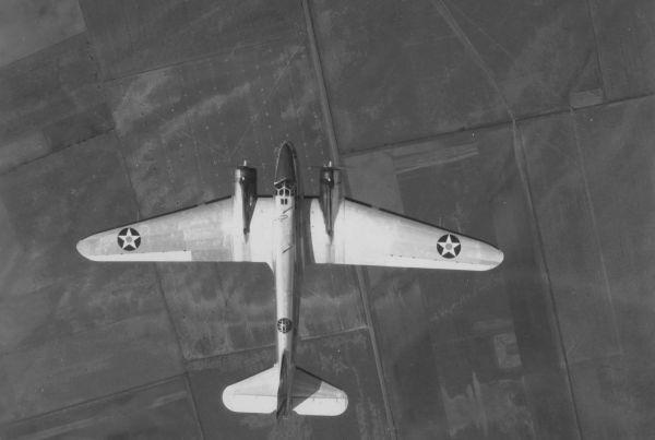 Overhead View Of Douglas -18 Bolo Bomber In Flight Showing Close Design