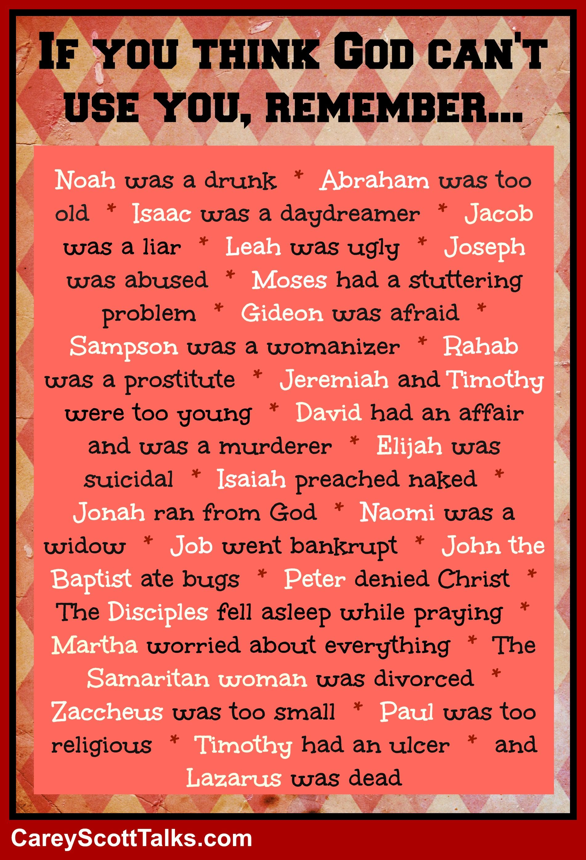 Dont think God can use you Check this list out Faith