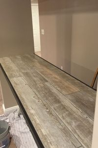 Ceramic faux wood tile for a bar top... | Family Room ...