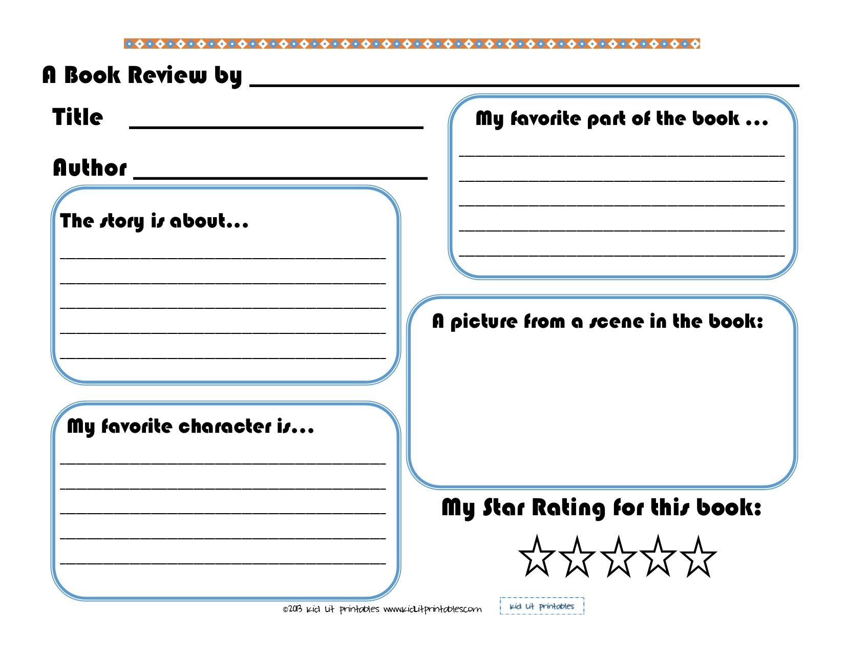 3 Levels Of Free Printable Book Reports From Kid Lit Printables Enjoy