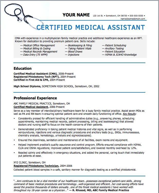Medical Assistant Resume cakepinscom  beauty  Pinterest