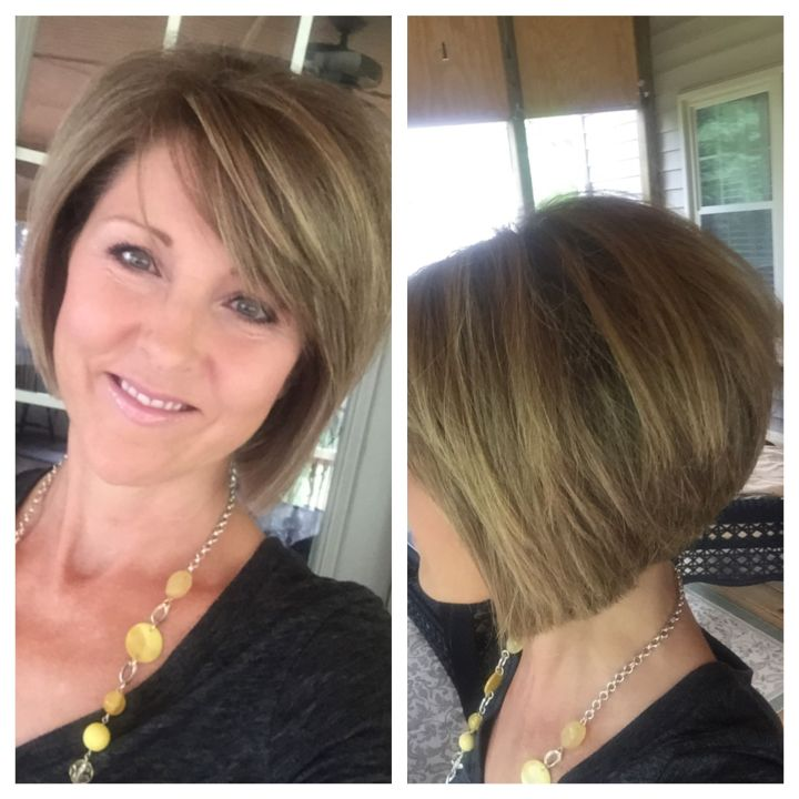 Short layered bob hairstyle Stacked back Angled sides