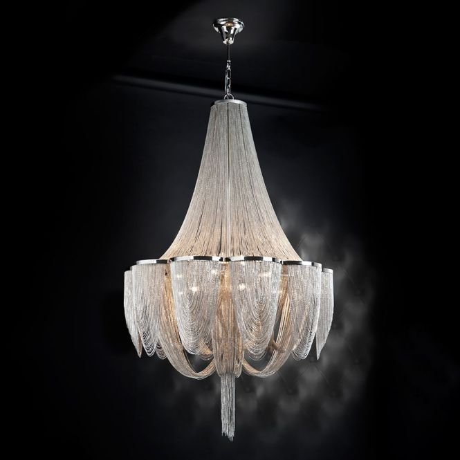 15 Light Silver Chain Empire Style Chandelier