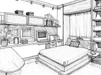 Desktop Interior House Design Drawing Of Games Pc Hd Bedroom Drawing Sketches