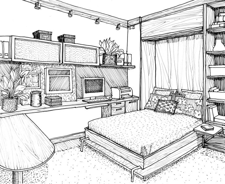 Interior Design: Interior House Design Drawing. Desktop Interior House Design Drawing Of Games Pc Hd Bedroom Drawing Sketches