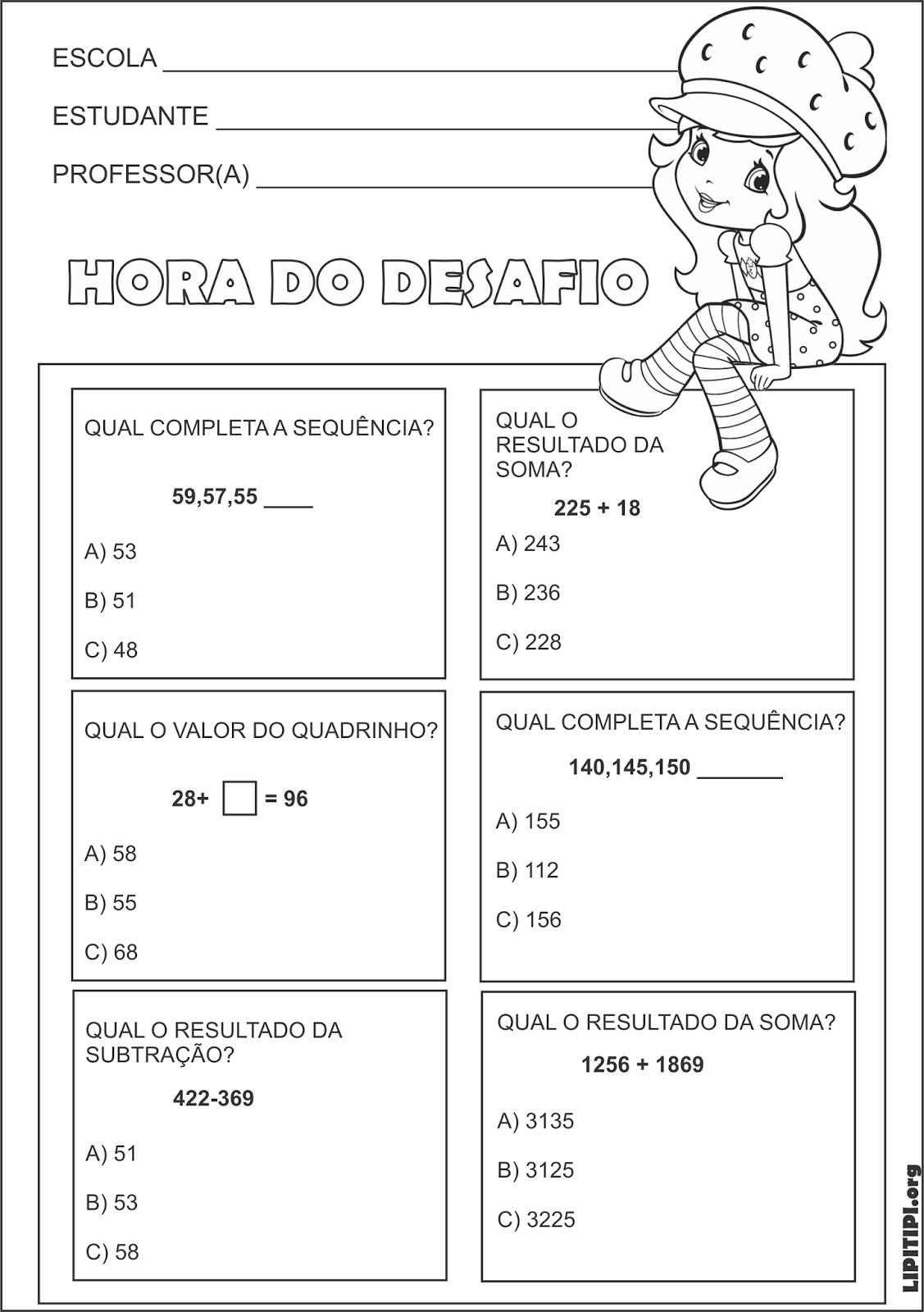 Atividade Matematica Simulado Sequencia Numerica Soma Subtracao Valor Do Quadrinho Moranguinho