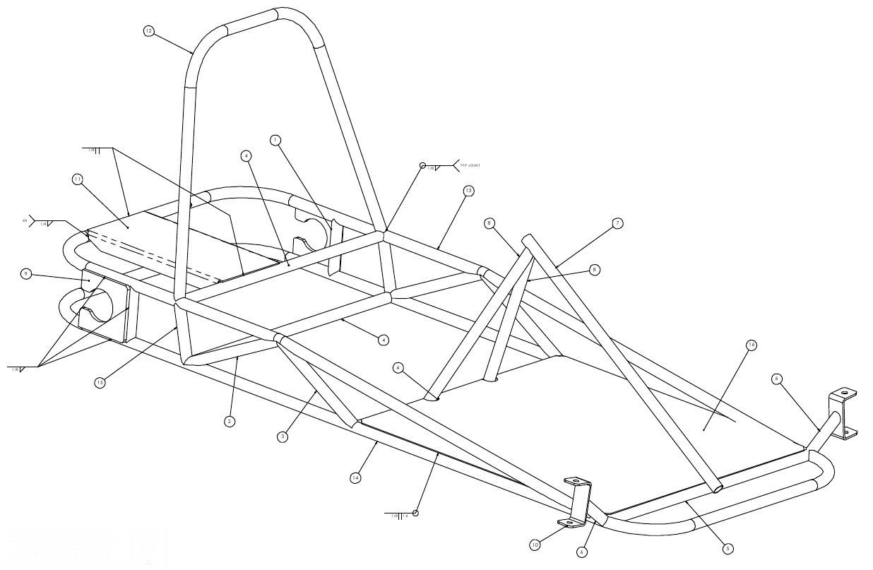 Weldments And Parts To Build The Go Kart Use The Numbers On This Illustration With The List Of